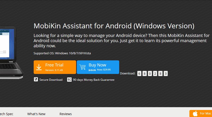 PC için MobiKin android yedekleme yazılımı