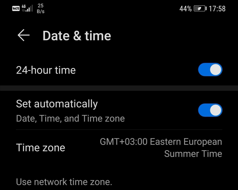 zamanı otomatik olarak ayarla android