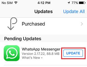 İPhone'da WhatsApp'ı güncelleyin