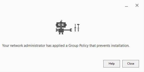 ağ yöneticiniz kurulum hatasını önleyen bir grup politikası uyguladı