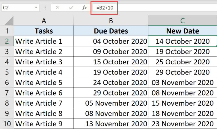 Sabit sayıda gün eklemek için formül