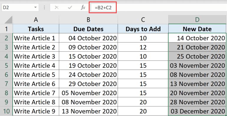 Değişken gün sayısı eklemek için formül