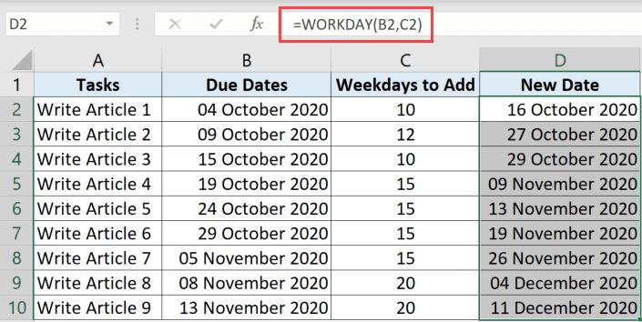 WorkDay işlevi yalnızca hafta içi