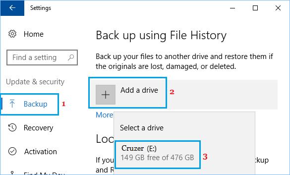 Windows Dosya Geçmişi Yedeklemesi İçin Sürücü Ekleyin