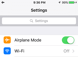 İPhone'da Uçak Modunu Değiştirin