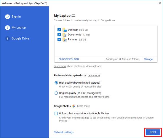 Google Drive'a Yedeklenmek Üzere Seçilen Masaüstü, Belgeler ve Resimler
