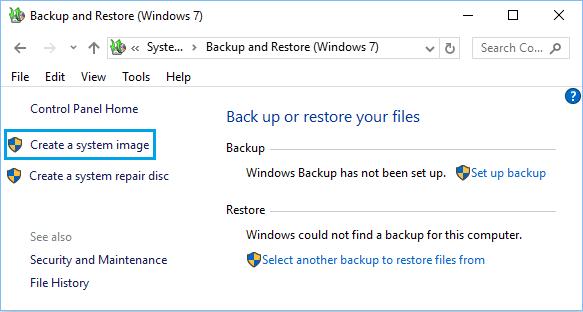 Windows 10'da Yedekleme ve Geri Yükleme'yi Kullanarak Bir Sistem Görüntüsü Oluşturma