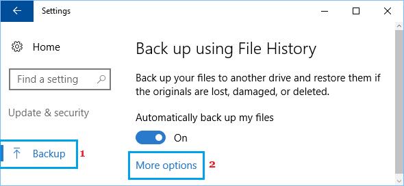 Windows 10 Yedekleme ve Dosya Geçmişi Bölümünde Daha Fazla Seçenek Bağlantısı