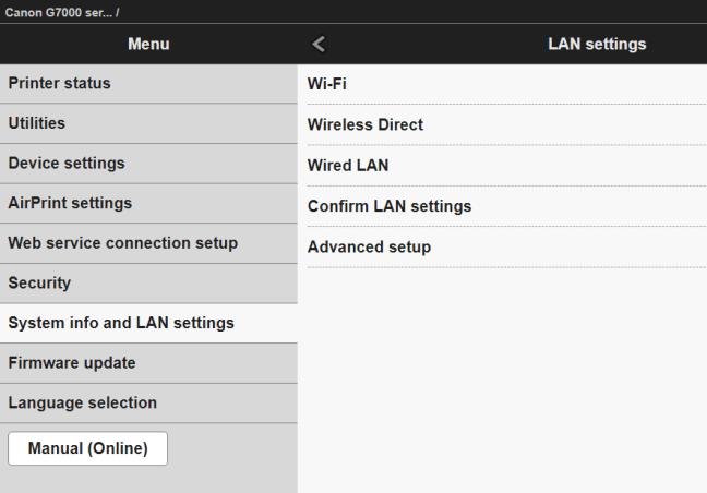 Kablosuz bir yazıcının web tabanlı konfigürasyon arayüzü