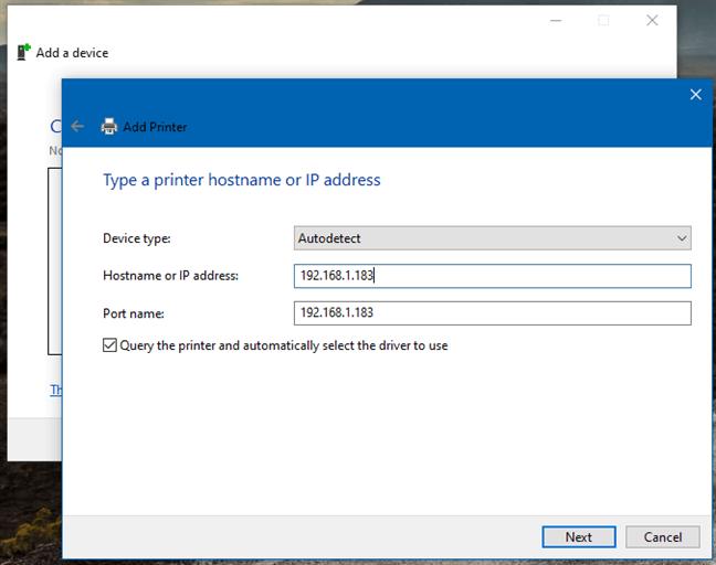 Bir IP adresi kullanarak Kontrol Panelinden kablosuz bir yazıcı ekleme