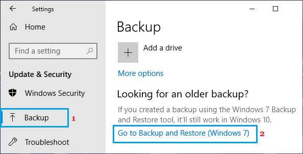 Yedekleme ve Geri Yükleme (Windows 7) Seçeneği