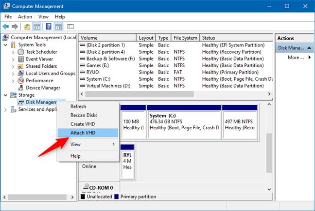 Disk Yönetimine VHD ekleyin