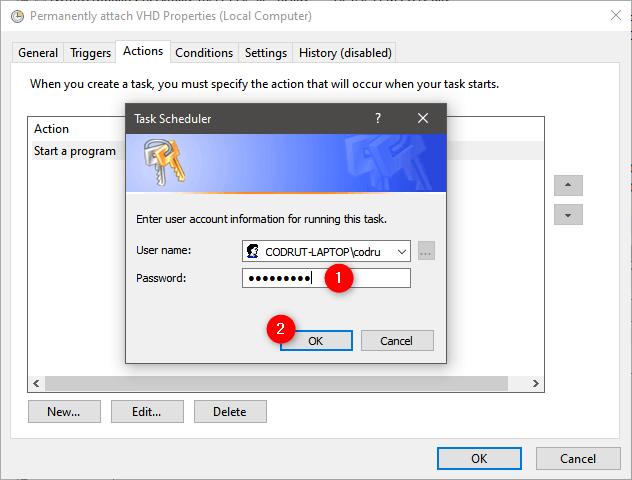 Kullanıcı hesabının şifresini girme