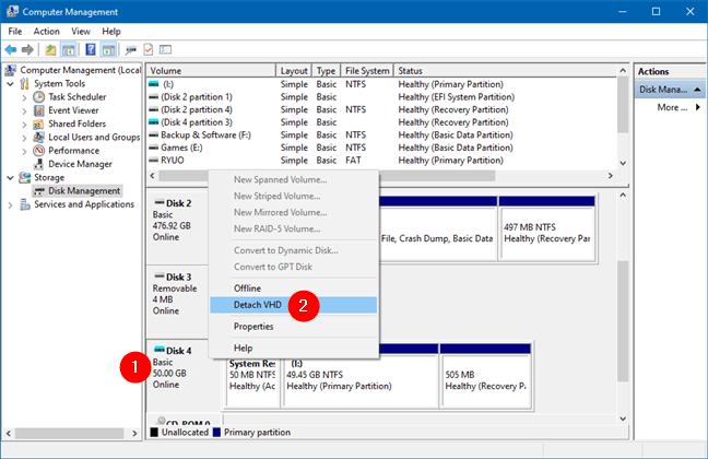 Windows'ta VHD'nin bağlantısını kesin: VHD'yi ayırın