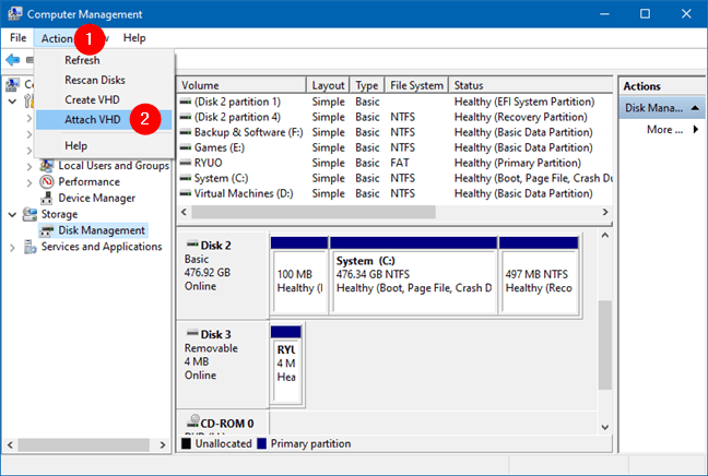 Disk Yönetimi'nden Eylemler menüsüne VHD ekleyin