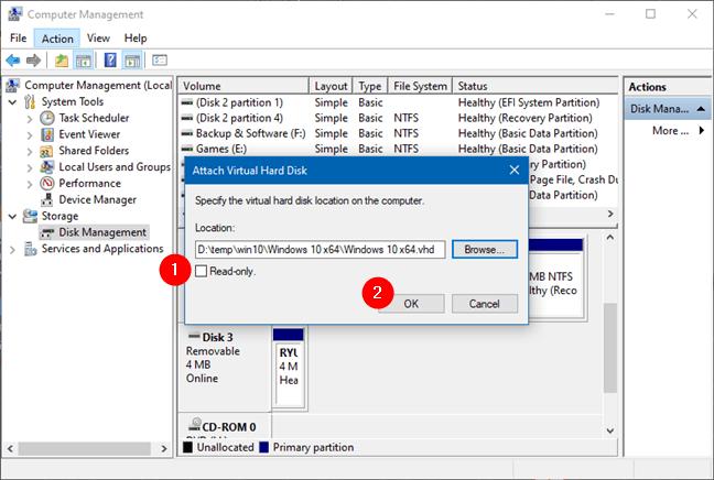 Attaching a Virtual Hard Disk file