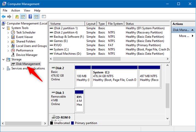 Bilgisayar Yönetiminde Disk Yönetimi