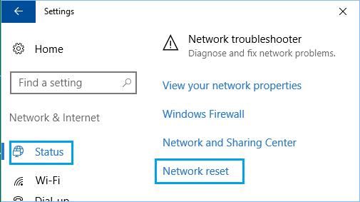 Windows 10'da Ağ Ayarlarını Sıfırla Seçeneği