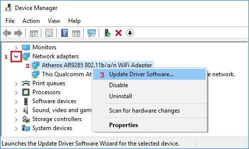Windows 10'da WiFi Adaptör Sürücü Yazılımını Güncelleyin