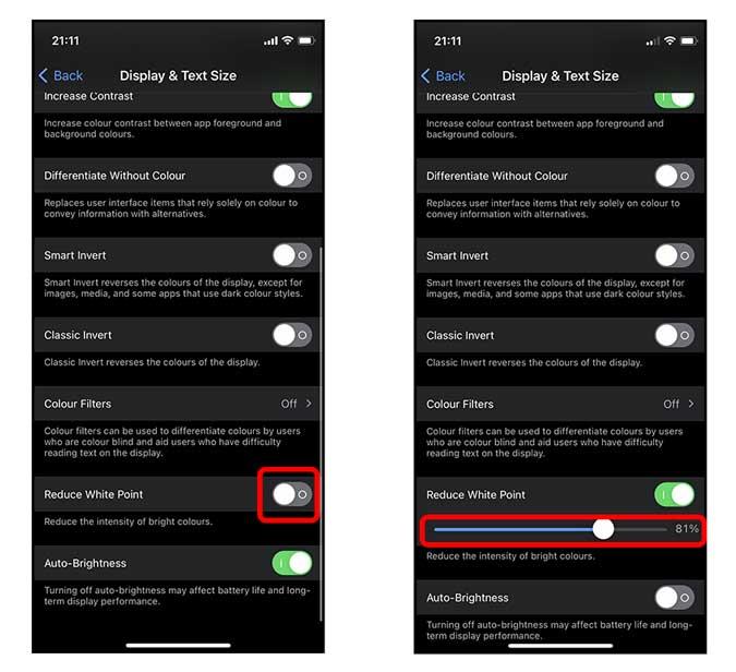iphone'da beyaz noktayı azalt ayarını değiştir