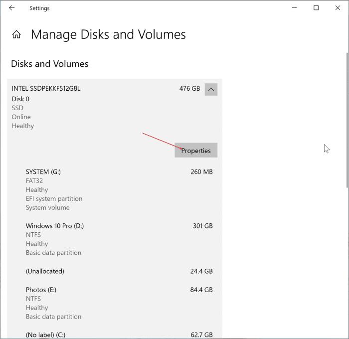 Windows 10 pic2'de SSD sağlığını ve sıcaklığını kontrol edin