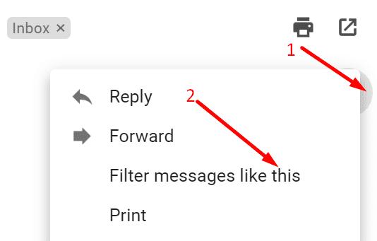 bu gmail gibi mesajları filtrele