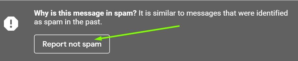 gmail raporu spam değil