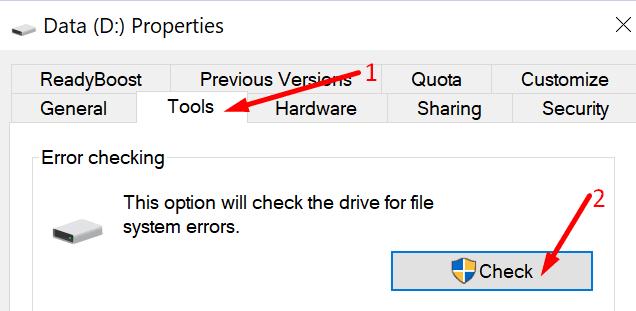 disk kontrol bilgisayarını çalıştır