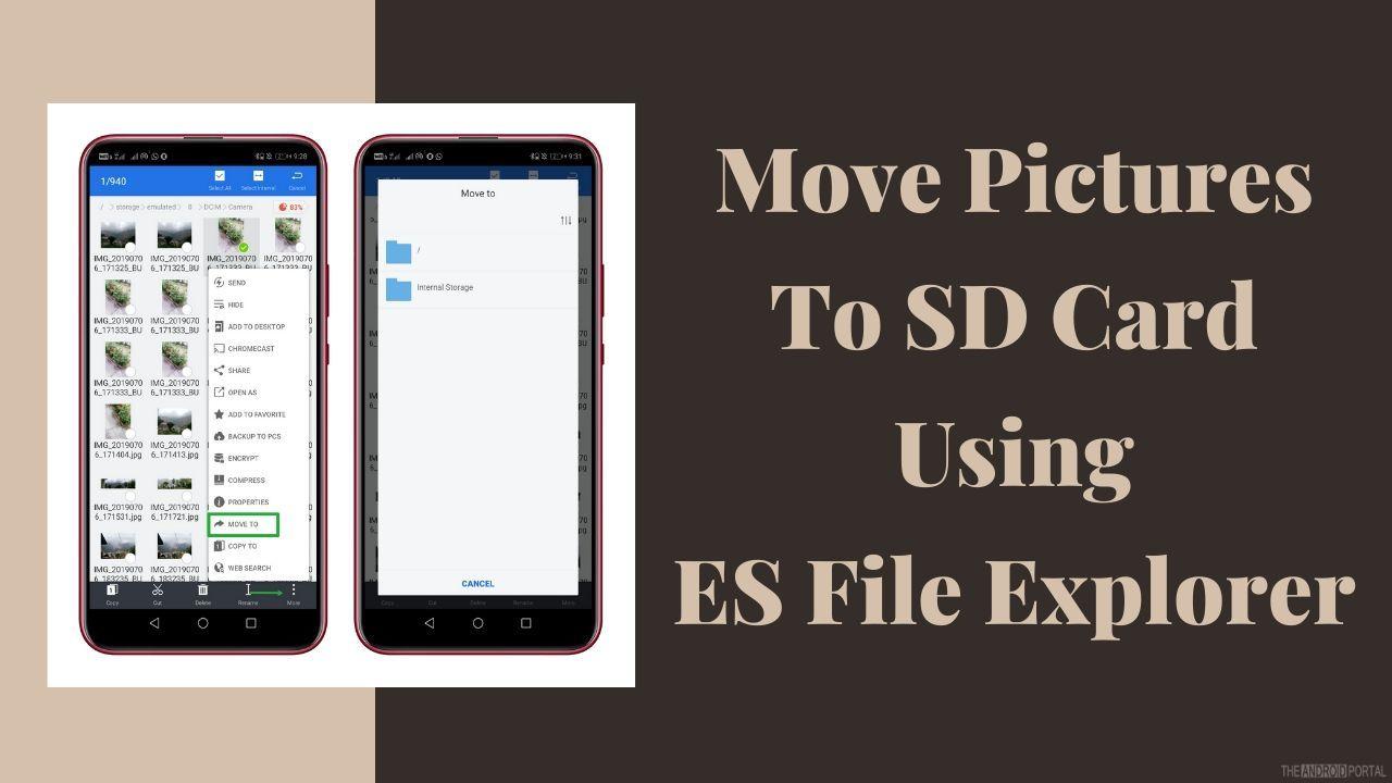 ES Dosya Gezgini Kullanarak Resimleri SD Karta Taşıyın