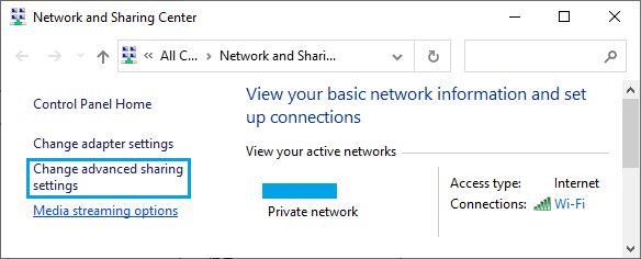 Windows'ta Gelişmiş Paylaşım Ayarları Seçeneğini Değiştirin