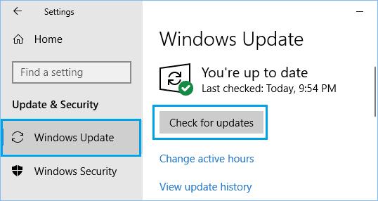 Windows'ta Güncellemeleri Kontrol Et Seçeneği