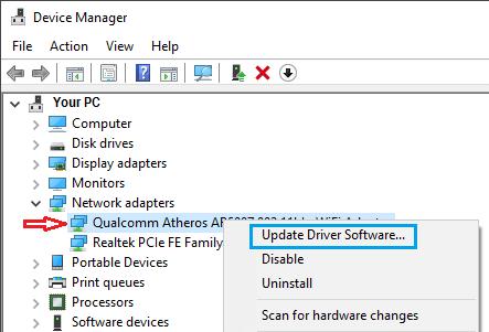 Windows PC'de Ağ Sürücüsünü Güncelleyin
