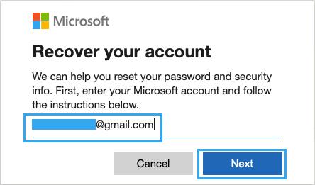 Microsoft Hesabını Kurtarmak için E-posta Girin