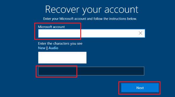 Microsoft Hesabı Parolasını Kurtar Ekranı