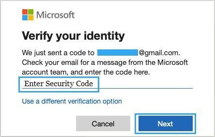 Microsoft Hesabını Doğrulamak için Güvenlik Kodunu Girin