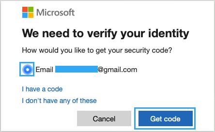 Güvenlik Kodunu Almak İçin E-posta Adresini Seçin