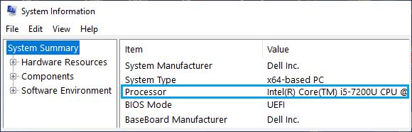 Windows Sistem Bilgileri Ekranındaki İşlemci Model Numarası