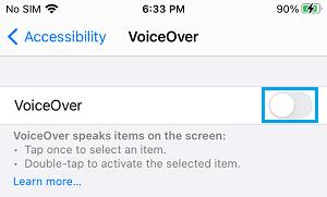 İPhone'da VoiceOver'ı devre dışı bırakın